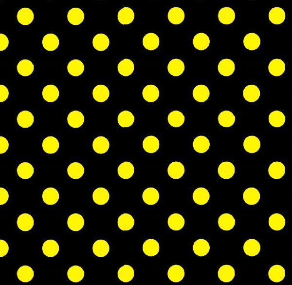 Tecido Tricoline Poá Preto Bola Amarela - 0,50cm