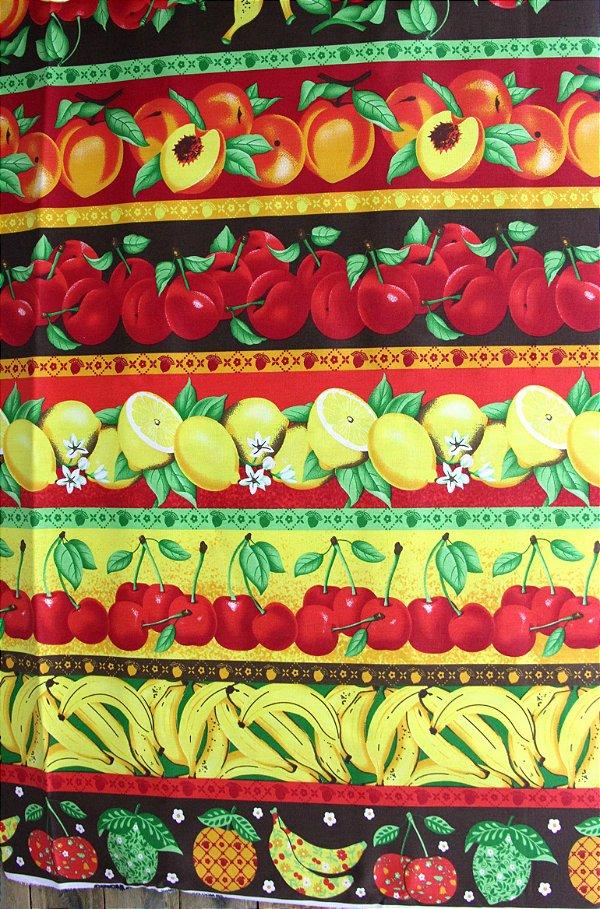 Tecido Círculo Barrado Frutas Cor 2072 - 0,50cmx1,46 Mts