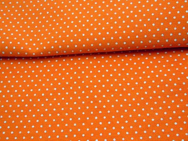 Tricoline 100% algodão Poá - laranja com bolinhas brancas Circulo 1610 - 0,50cm