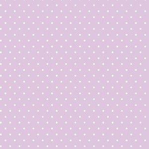 Tricoline 100% algodão Poá - Lilás com bolinhas brancas Circulo - 0,50cm