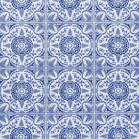 Tecido Círculo Azulejo Português - 1625 - 0,50cmx1,46 Mts