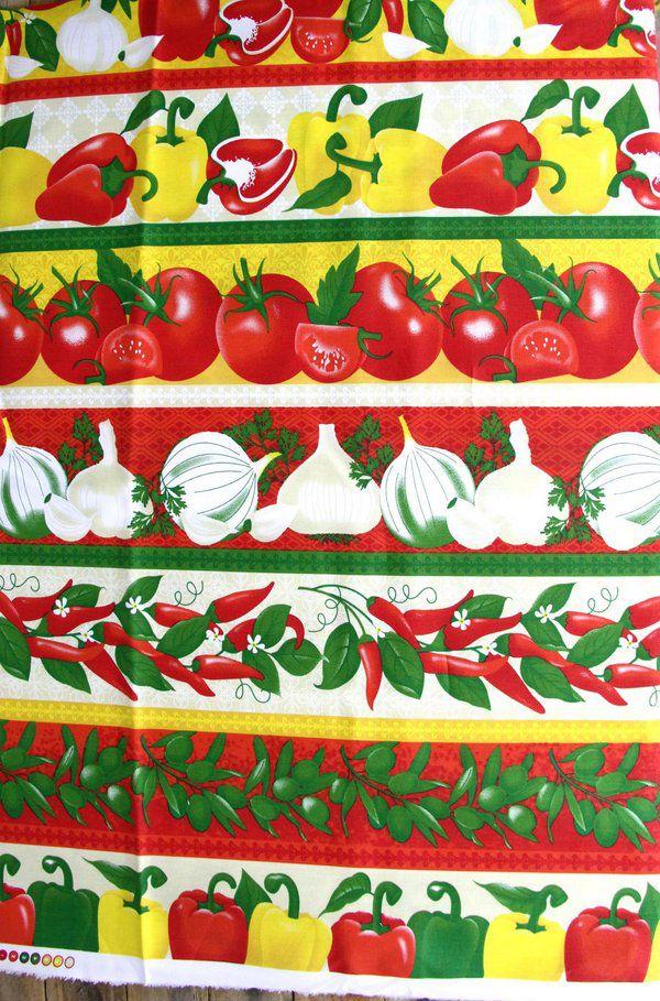 Tecido Círculo Barrado Legumes  -1994 - 50cmX1,46cm