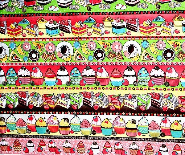Tecido Círculo Barrado Festival Doces -2105 - 50cmX1,46cm