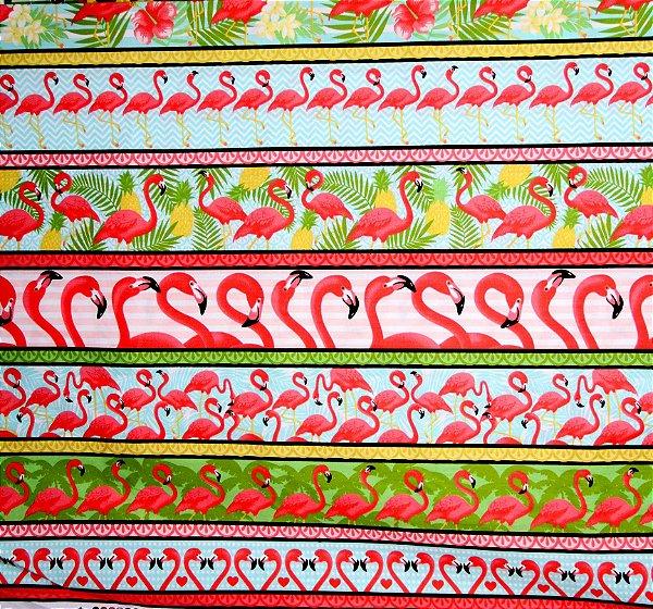 Tecido Círculo Barrado Flamingos -2092 - 50cmX1,46cm