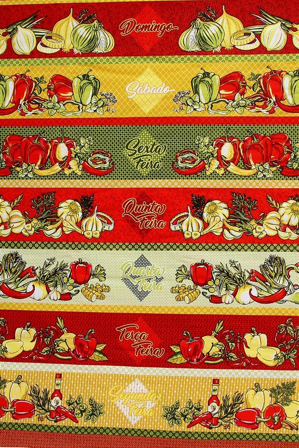 6aa77f6aa80b4a Tecido Círculo Barrado Legumes Semaninha Cor 2163 - 0,60cm x 1,46 Mts