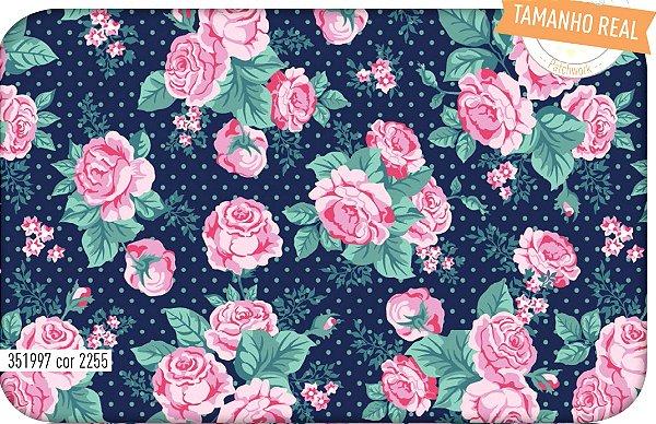 Tecido Tricoline Círculo Floral  -2255 - 50cmX1,46cm