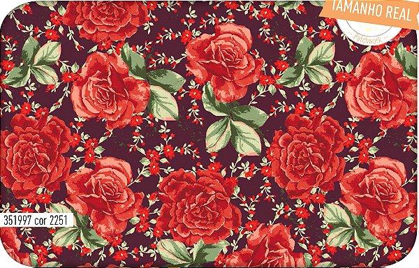 Tecido Círculo Tricoline Buque de Rosas Bordô- 2251 - 0,50cmx1,46 Mts