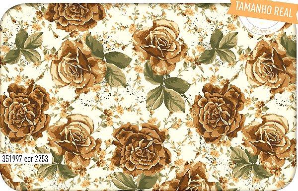 Tecido Círculo Buque de Rosas Beje - 2253 - 0,50cmx1,46 Mts