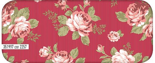 Tecido Círculo Floral Viena Vermelho - 2257 - 0,50cmx1,46 Mts