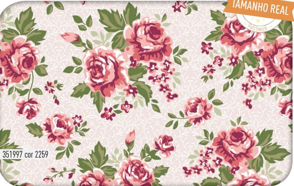 Tecido Círculo Jardim de Rosas - 2259 - 0,50cmx1,46 Mts