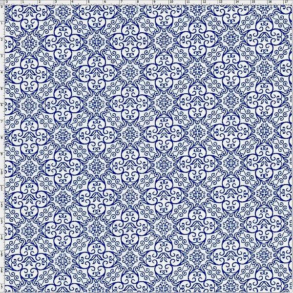 Tecido Círculo Azulejo Português - 1626 - 0,50cmx1,46 Mts
