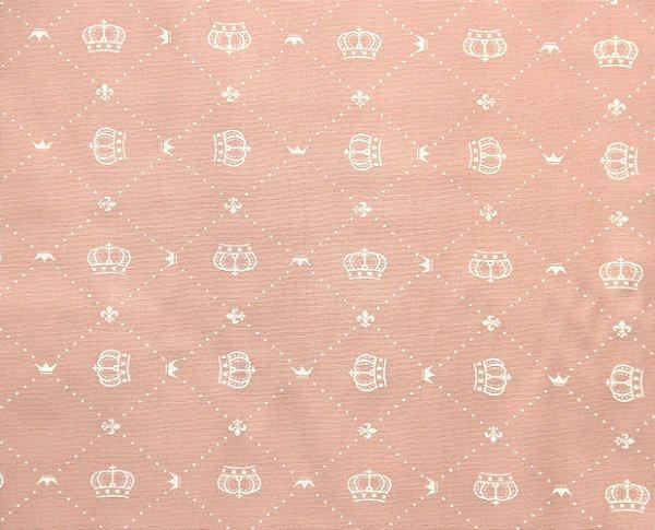 Tecido Círculo Coroa Real Rosa - 2227 - 0,50cmx1,46 Mts