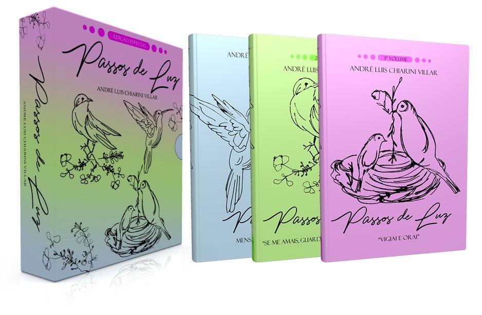 """Box Passos de Luz - Trilogia:  Vol. 1 """"Mensagens de paz e harmonia""""   Vol. 2 """"Se me amais, guardai  os meus mandamentos""""   Vol. 3 """"Vigiai e orai"""" - André Luis Chiarini Villar"""