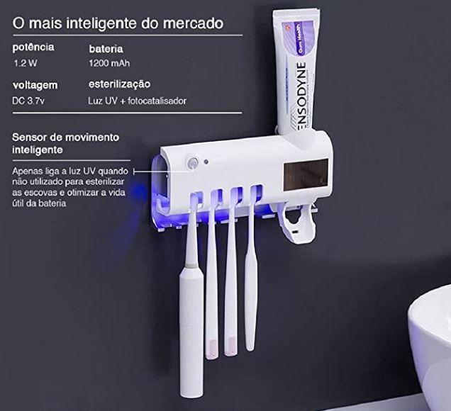 Porta Escova de Dente com esterilizador UV