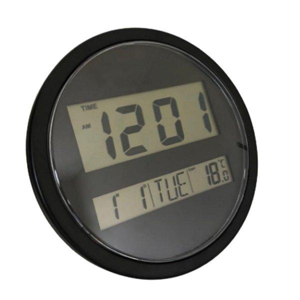 Relógio de Parede Redondo Preto - Data Hora e Temperatura