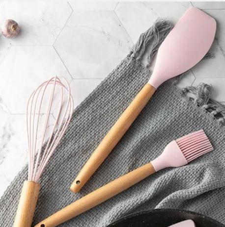 Kit de Utensílios p/ Cozinha em Silicone e Bambu 7 Peças Rosa