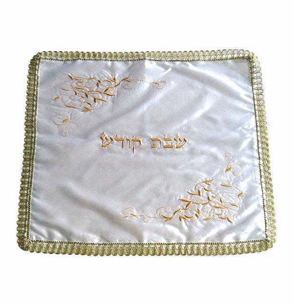 Cobertura para chalá com bordado dourado: Shabbat Kodesh