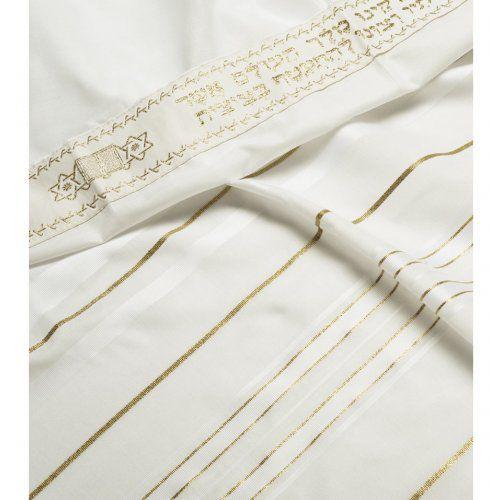 Talit de acrilã com listras brancas e douradas - importado