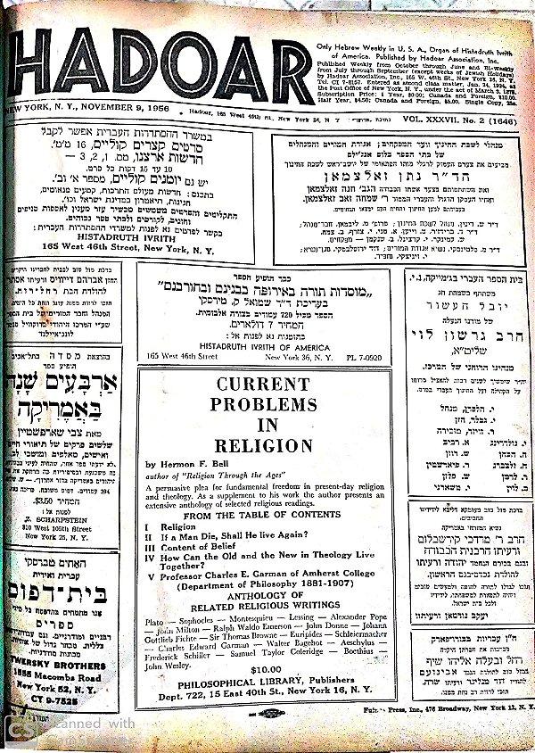 Hadoar - vol. XXXVII New York 1956