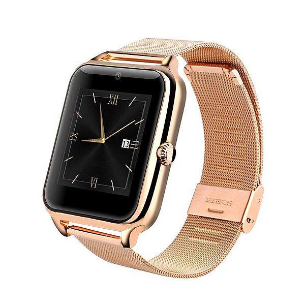 b4642d4ffe4 Relógio Smartwatch Z60 Celular Inteligente Touch Bluetooth Chip Ligações  SMS Pedômetro Câmera - DOURADO