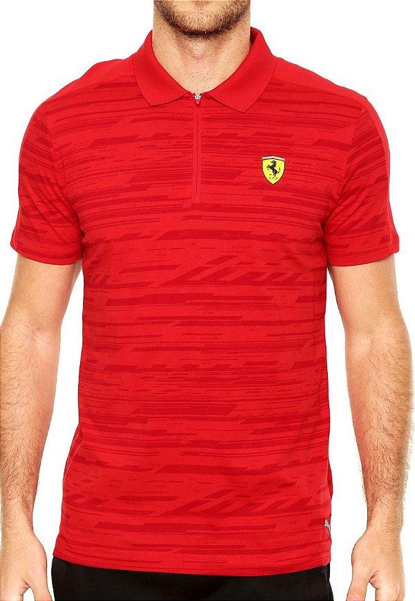 Camisa Polo Puma Styfr-Sf Aop Vermelha