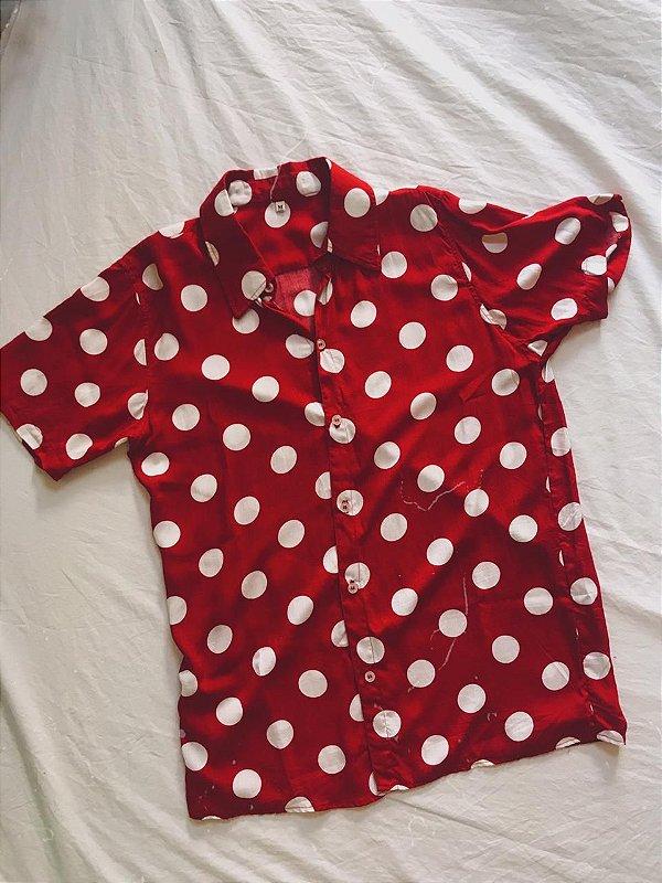 Camisa de poá vermelha