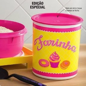 Tupperware Super Instantânea Farinha nº4 Rosa e Amarelo 4,3 litros