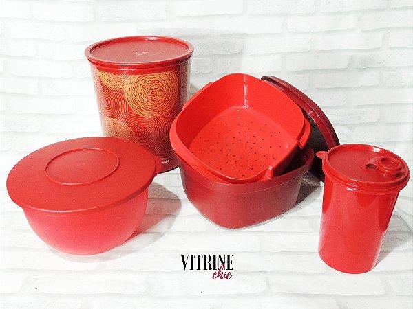 Tupperware Kit Cozinha Vermelha 4 Peças