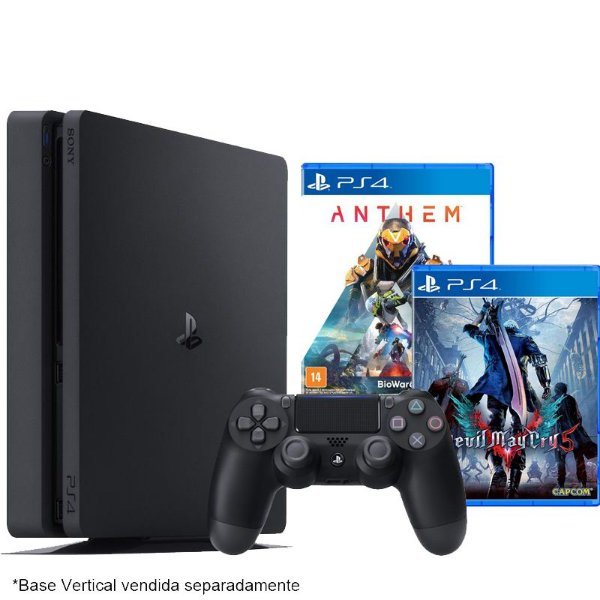 PlayStation 4 Slim 500 GB com jogo Anthem + Devil May Cry 5