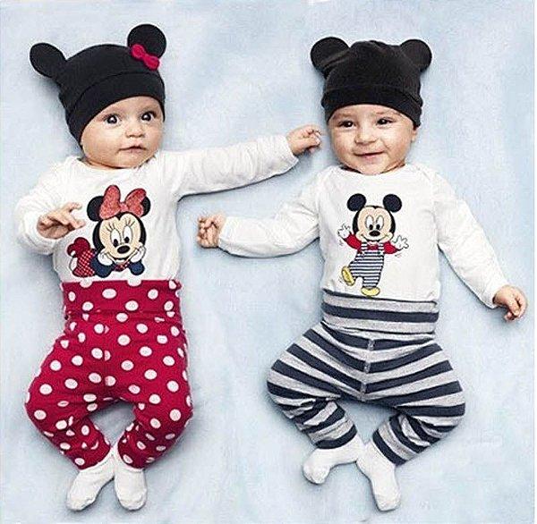 Conjunto Bebê Disney Minnie Body + Calça + Touca