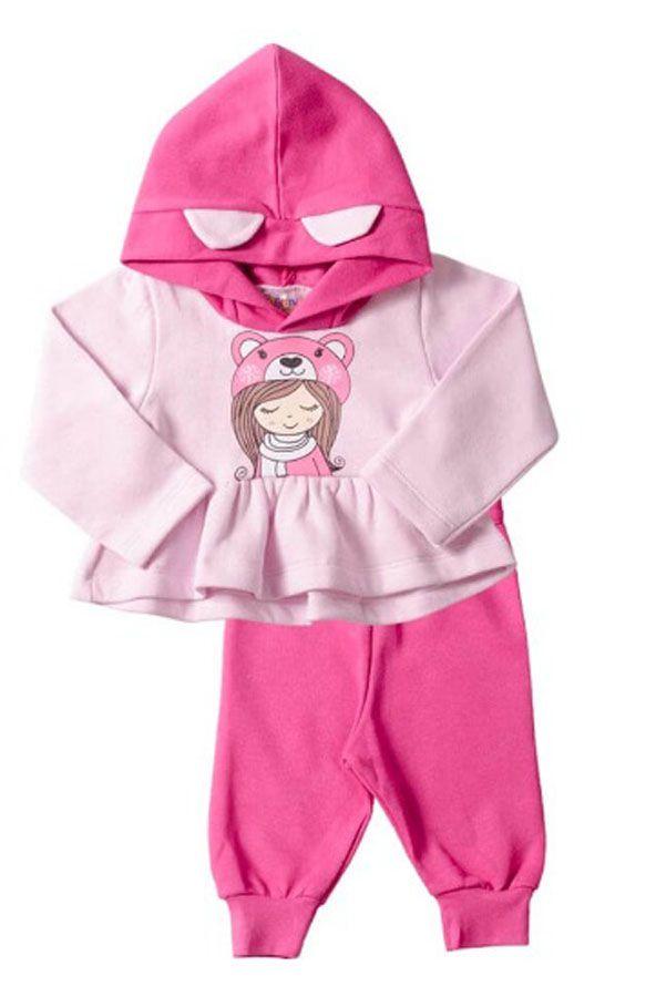 Conjunto Moletom Bebê Menina Rosa