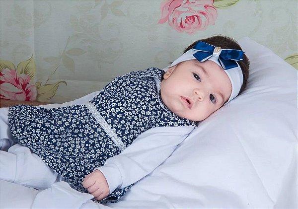 Saída de Maternidade Mini Flor Azul Marinho