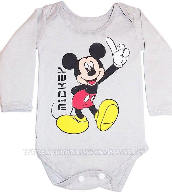 Body Bebê Manga Longa Mickey Avulso