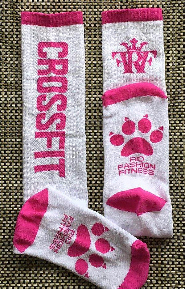 Meião Crossfit Wod - White & Pink