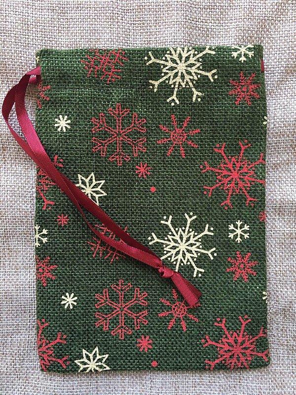 Mini Saco Rústico para Presente - Verde