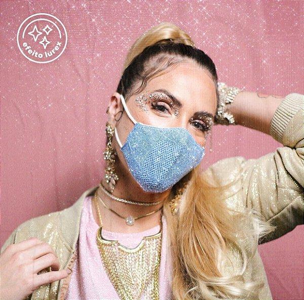 Máscara Anatômica Feminina Lurex - Azul