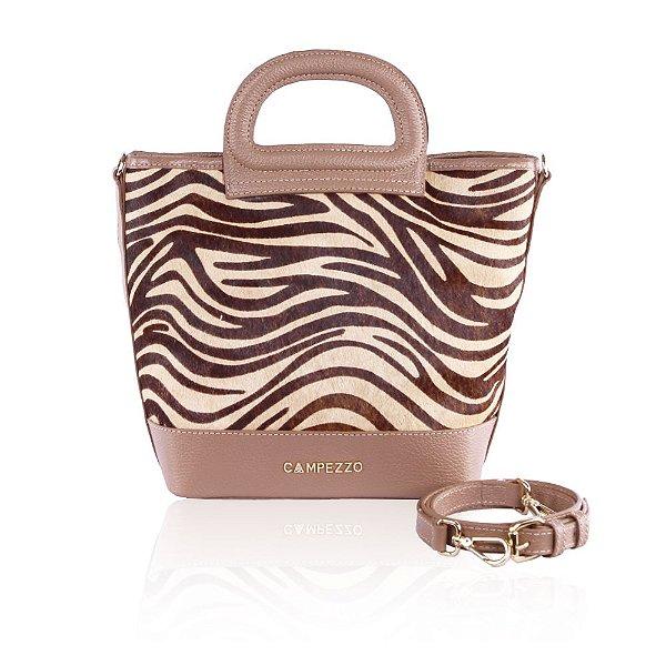 feb4e1649 Bolsa Bucket Bag Couro Camel e Pelo Zebra - campezzo