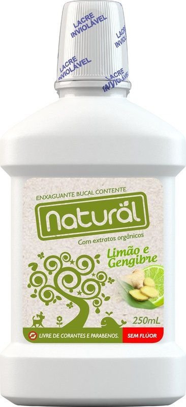 Enxaguante Bucal Natural sem flúor com ingredientes orgânicos 250mL
