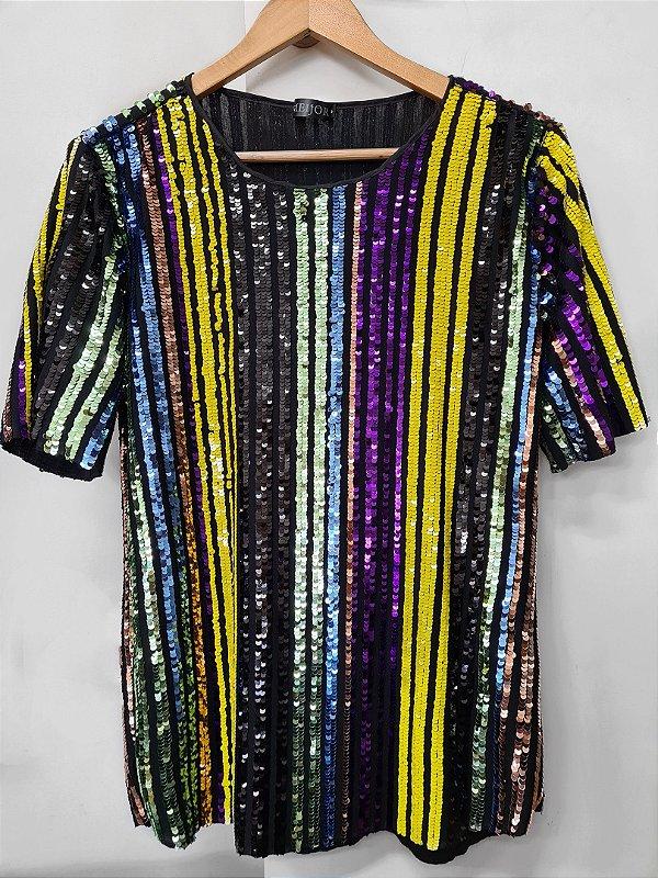 Camiseta Brilho Colorido