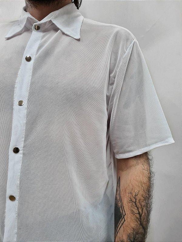 Camisa Tule Branca Manga Curta
