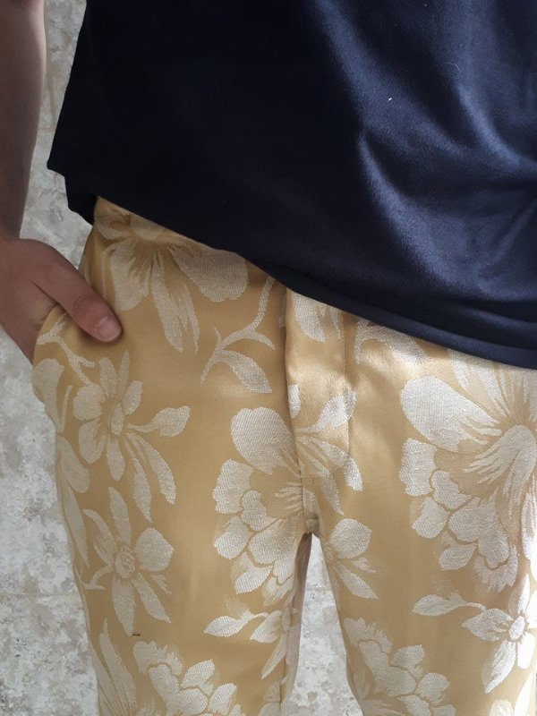 Calça Dourada Floral