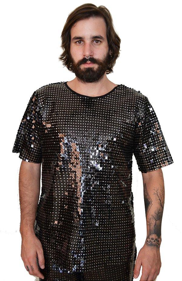 Camiseta Paetê Preta