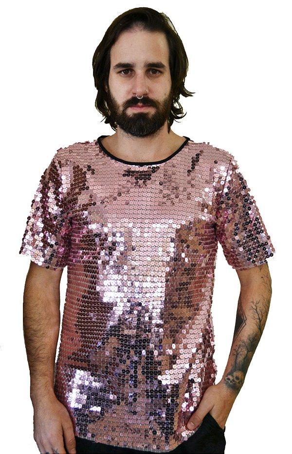 Camiseta Paetê Rosa