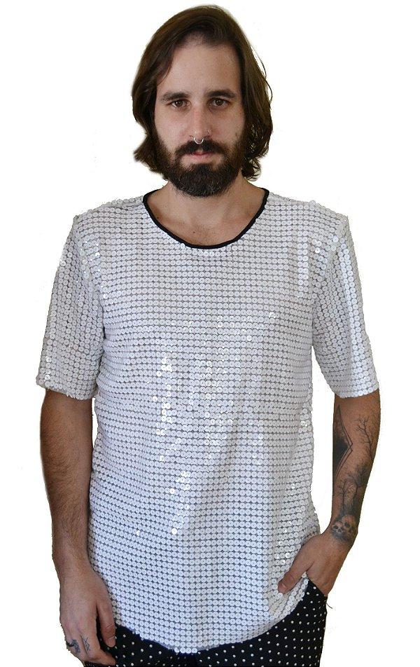 Camiseta Paetê Branco