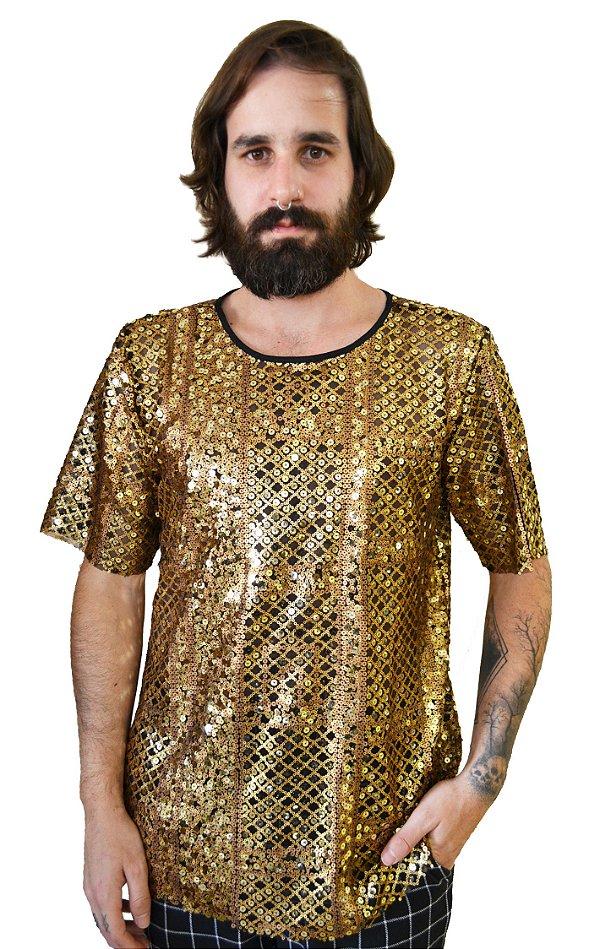 Camiseta Paetê Gold