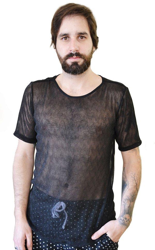Camiseta Transparente Preta