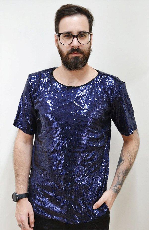 Camiseta Paetê Azul