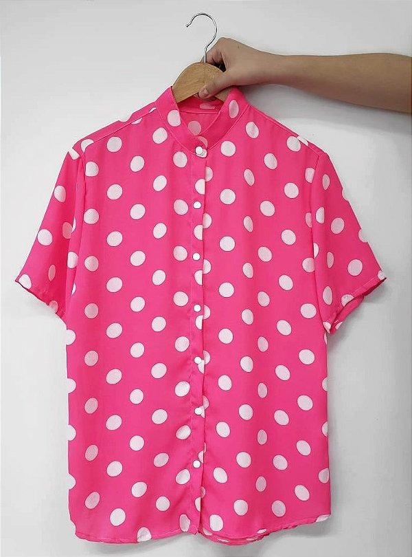 Camisa Bolinha Pink
