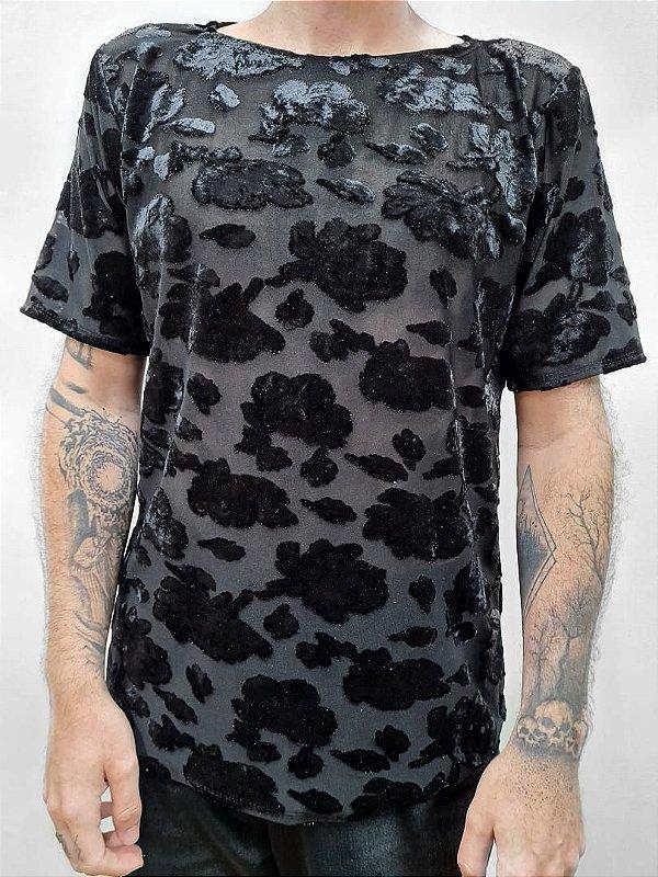 Camiseta Flor aveludada
