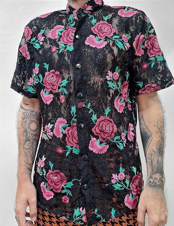 Camisa Renda Rosa